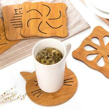 6 Patterns Practical Kitchen Table Cup Mat Hoder Cute Hollow Out Wooden Carved Cup Mug Coasters Table Pad