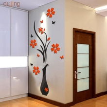 Hot! Fashion Wall Stickers Heaven DIY Vase Adhesive Flower Tree Crystal Arcylic 3D Wall Stickers Decal Home Decor Wallpaper 2017