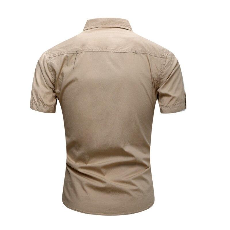 2018 New Men Cargo Shirt Casual 100% Cotton Man Solid Color Short Sleeve Shirts Work Shirt US Size S-XXXL (4)