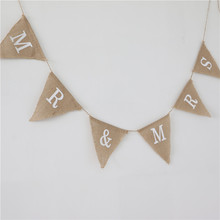 mr mrs theme natural jute burlap hessian vintage flag wedding party decoration banner bunting 2.4m rustic garland style