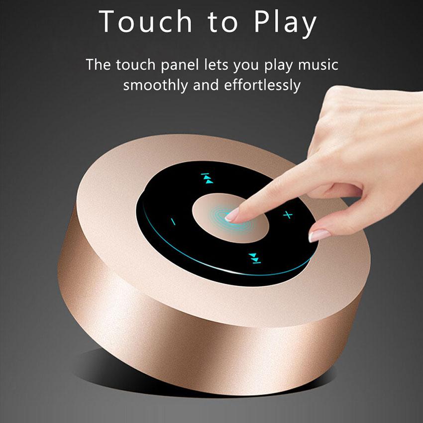 Aimitek Portable Bluetooth Speaker Touch Screen Mini Wireless Stereo Speaker Champagne-4