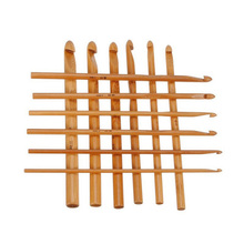 Big Sale 12 Pcs Sweater knitting Circular Bamboo Handle Crochet Hooks Smooth Weave Craft Needle 12 Sizes