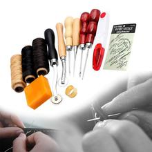 13Pcs/Set Portable Leather Craft Hand Stitching Sewing Tool Thread Awl Waxed Thimble Kit Hand Tools(China)