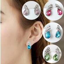 2017 new fashion leaves gorgeous crystal jewelry ladies water droplets earrings wings multi-color wholesale distribution