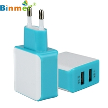 Factory price Binmer Hot Selling 3A 2 Ports EU Plug USB Wall Travel AC Charger Adapter For Samsung Galaxy S7 Free Shipping