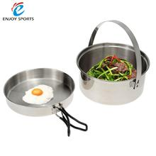 Outdoor Pot Pan Mesh Bag Camping Hiking Cookware Backpacking Cooking Picnic Pot Set Stainless Steel Cook Set