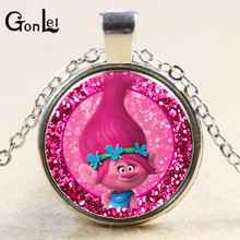GonLeI Cartoon Trolls Christmas Necklace Children Troll Necklace Girls Best Gift Anime Kids Action Figures Toys