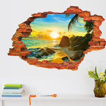 3D Broken Wall Sunset Scenery Wallpaper Ocean Beach Coconut Tree Poster Removable Seascape Wall Sticker for Kids Room Home Decor