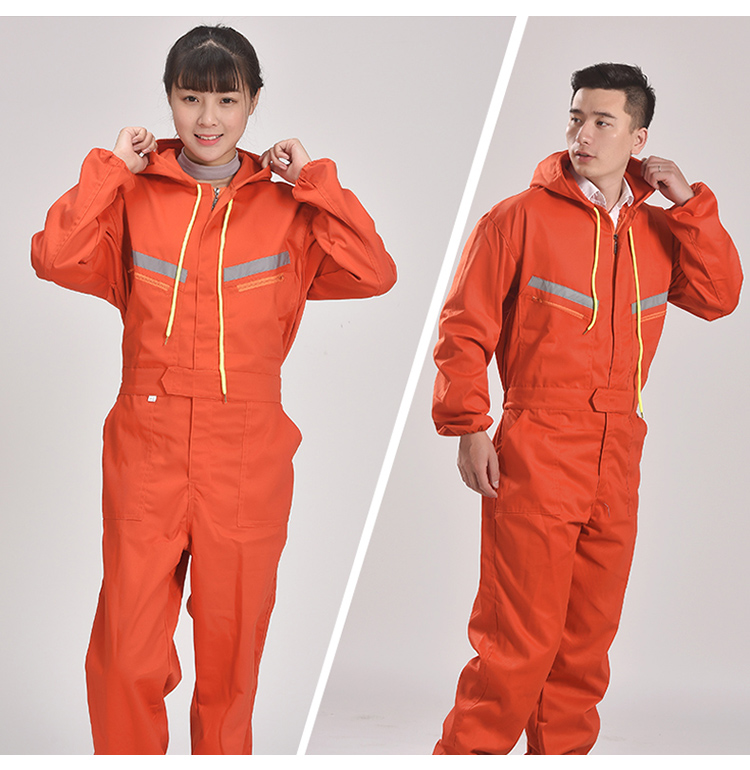 Men Women Coveralls Long Sleeve Hooded Reflective strip Overalls Auto Repair Engineering Spray Paint Workwear Working Uniforms (14)