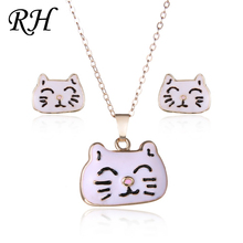 Lucky Cat Jewelry Sets Kits For Women Girl Animal Decorations Earrings Necklaces Costume Wedding Accessories Bijouterie
