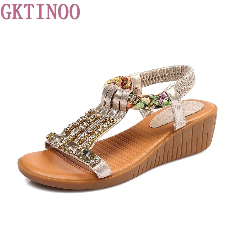 New 2018 summer shoes women genuine leather casual wedges shoes sandals Rhinestone women sandals for women<br>