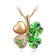 2017 Women`s Day Wholesale Austrian Crystal Clover Gold 4 leaf Leaves 11 colors Necklace  jewelry 9554 gold