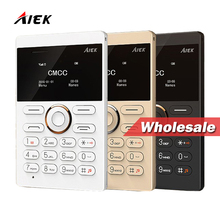 Wholesale Price!10PIECES!New arrival Ultra Thin AIEK/AEKU E1 Mini Card Phone Unlocked Mobile Phone Low Radiation Multi Language(China)