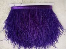 Wholesale 10Yards/lot from Factory Strip Cheap purple Ostrich Feather Trim 10-15cm height Ostrich feather fringes 014008003