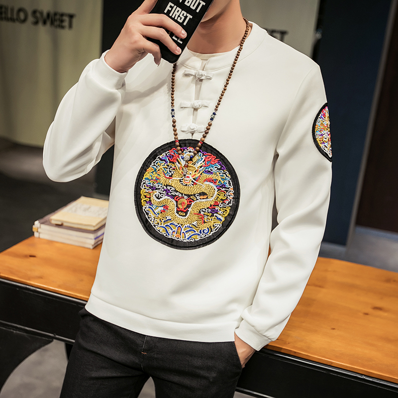 Chinese retro style embroidery dragon pattern long-sleeved t shirt Autumn 2018 high-quality comfortable luxury t shirt men M-5XL