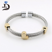 MSX 2017 Stainless Steel 4 Styles Heart Love Men Screw Nut Bangles Cable Twisted Wire Adjustable Chain Cuff Bracelet Accessories