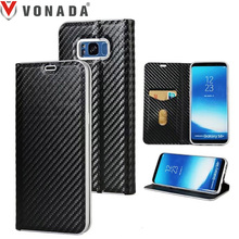 Vonada Deluxe Business Case for Samsung Galaxy S8 / S8 Plus Carbon Fiber Texture Flip Wallet Leather Card Stand Phone Case Cover