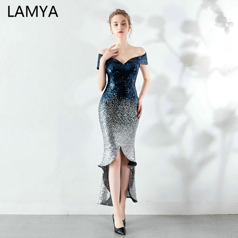LAMYA Fashionable Sliver Sequined Cocktail Dress Elegant High Low Evening Party Dresses Mermaid Prom Dress