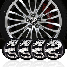 4pcs/ Lot Dragon logo Car Steering tire Wheel Center car sticker Hub Cap Emblem Badge Decals Symbol For Honda VW Audi BMW(China)