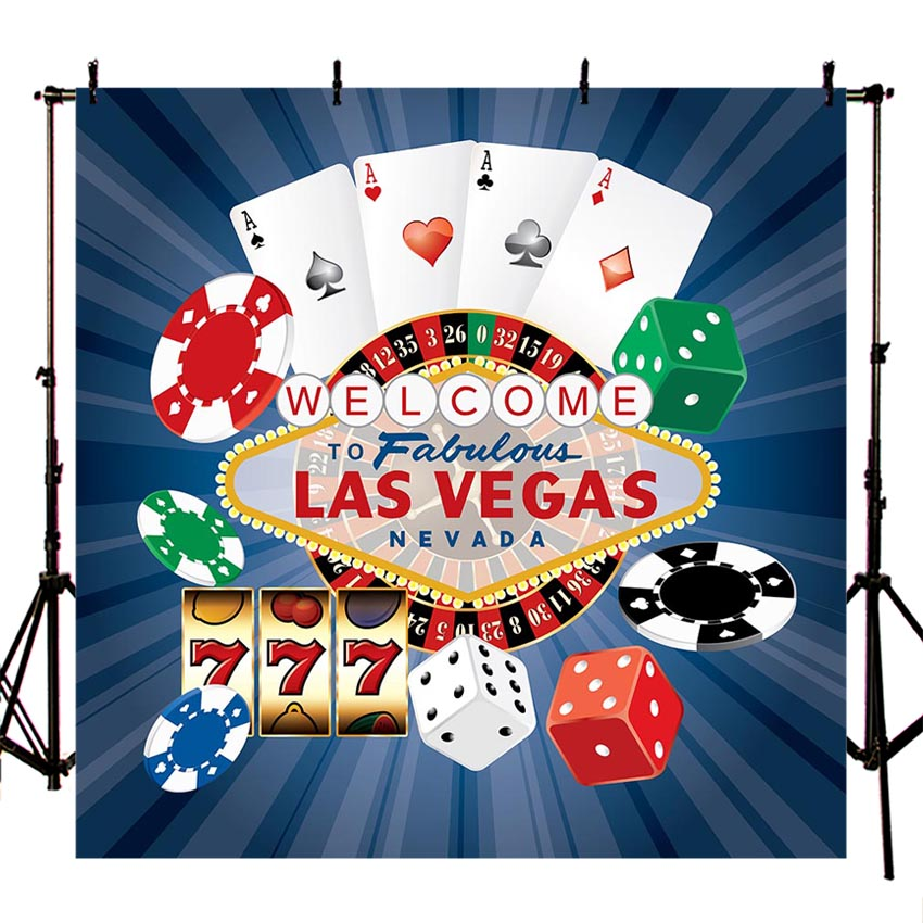 Las Vegas Poker Birthday Banner Personalized Party Decoration Backdrop