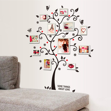 Creative PVC Happy tree Photo frame wall butterfly wall stickers home decor Bedroom living room TV backdrop stickers Paper(China)