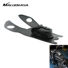 MALUOKASA Tunk Cover Panel Pad Chap Bib Motorcycle Black Leather 4.5 Gallons Tank Cap Cover Panel Bag For Harley Touring