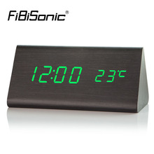 FiBiSonic Wood Electronic Desk Clock Digital LED Alarm Clock, Sounds Control Wooden Table Clock with Temperature