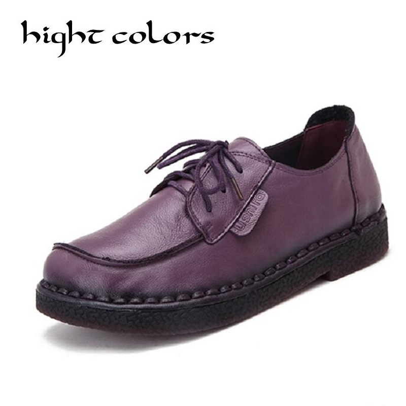 Fashion Retro Hand-Sewing Shoes Women Flats Genuine Leather Soft Bottom Women Shoes Soft Comfortable Casual Shoes Woman Loafers <br>