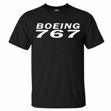 XQXON-2017 High quality clothes new man cotton t shirt BOEING 767 Design print summer new hot men t-shirt K267(China)