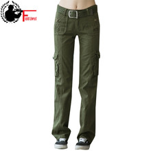 Khaki Cargo Pants Women 2017 multi pocket Trouser Causal military Summer female Army Camo Fashion women's camouflage pants femme(China)