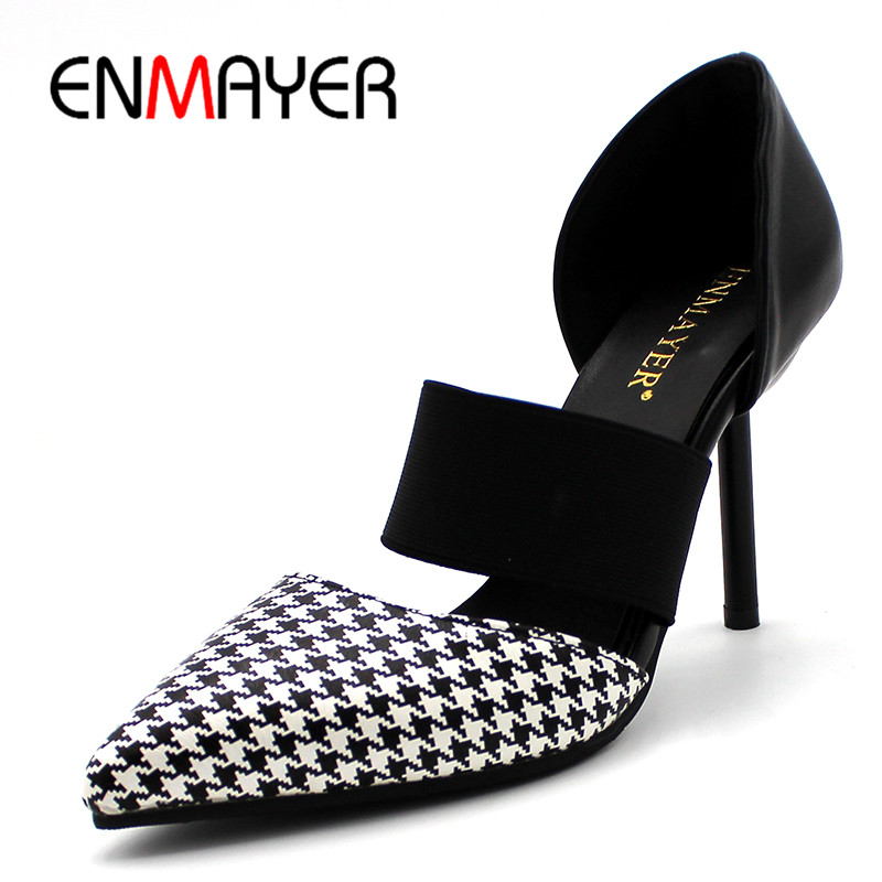 ENMAYER PU Material Women Pumps Shoes Pointed Toe Thin Heels Elastic Band Large Size 34-43 Shallow Dress Sexy Shoes Women<br>