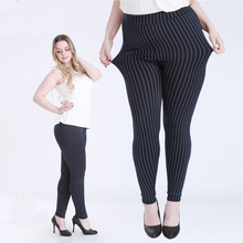 Big Size Fat Female Women Vertical Stripe Faux Jeans Legging Plus Size 5XL Legging for 100kg Women Thin Type Stretchy Pants