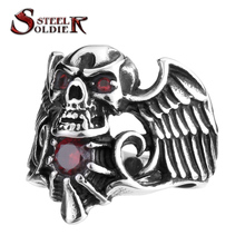 steel soldier new punk Men's Biker Ring fashion Designed Winged Skull Ring With Stone men Cubic zirconia jewelry(China)