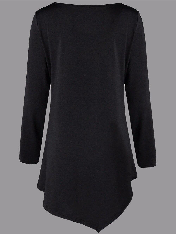 VESTLINDA Plus Size Two Tone Asymmetric Tunic Tee Shirt Women Fashion O Neck Long Sleeves Casual Long T-Shirt Ladies Tops 5XL 9