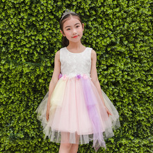Girl Dress Korean Vest Lace Children Summer Children's Garment Thick And Disorderly Dress Hot Kids Clothing(China)