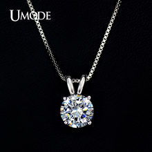 UMODE Classic Permanent 2ct Solitaire Hearts and Arrows CZ Pendant Necklace UN0047(China)