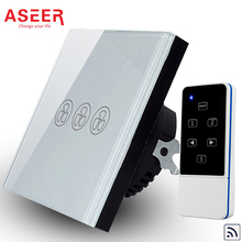 ASEER Manufacturer,EU 3 Mode Remote Control Fan Switch,Speed Regulation,White Crystal Glass Panel, AC 110~240V Home Wall Switch