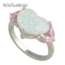 Heart Design Pink Zircon Women fashion women jewelry White fire Opal stamped Silver Rings USA size #7.75 OR632(China)
