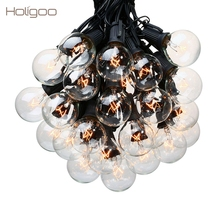 Holigoo 25Ft G40 Bulb Globe String Lights with Clear Bulb Backyard Patio Lights Vintage Bulbs Decorative Outdoor Garland Wedding(China)