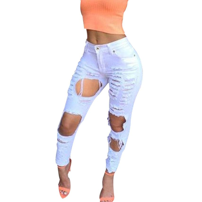 Hot Sale Women Plus Size Vintage Torn Jeans Casual Washed Holes Ripped Denim Jeans Sky Blue White Trousers Female Pants F204Одежда и ак�е��уары<br><br><br>Aliexpress