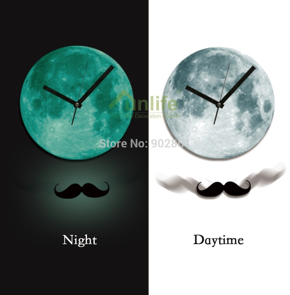 Moon wall clock gallery home wall decoration ideas glowing wall clock image collections home wall decoration ideas online buy wholesale glowing moon wall clock amipublicfo Images