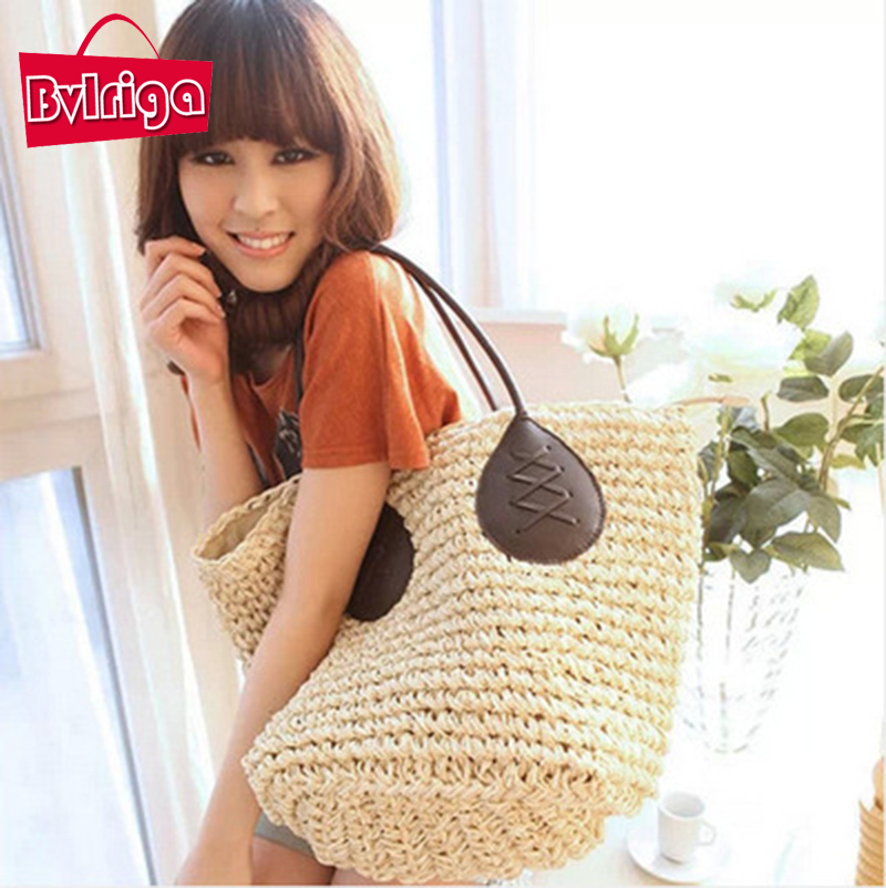 BVLRIGA fashion Straw bags big size handwoven shoulder bag summer style beach bags handbags women famous brands tote bag