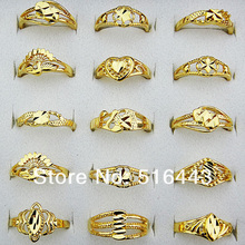 Hot Sale 20pcs Vintage Womens Mix Style 18K Gold Plated Rings Fashion Wedding Engagement Wholesale Jewlery Lots A-806