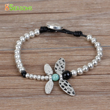 8SEASONS Hand Made Braided Beaded Bracelets Antique Silver Black Hollow Heart Dragonfly Wing 20-21.5cm long, 1 Piece