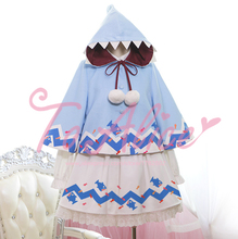 """My Brain is Eaten by Sharks"" Funny Light Blue Hooded Cape Cloak Short Thicken Coat with Fur Ball Pendant Cute Lolita(China)"