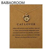 Fashion Jewelry Reminders Cat Lover Friendship Heart Charm Necklace For Women(China)