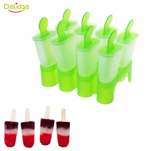 Delidge 1 Set 8 Cells Popsicles Mold Plastic Frozen Ice Cream Pop Mold Popsicle Maker Lolly Mould Tray Pan Maker Tool