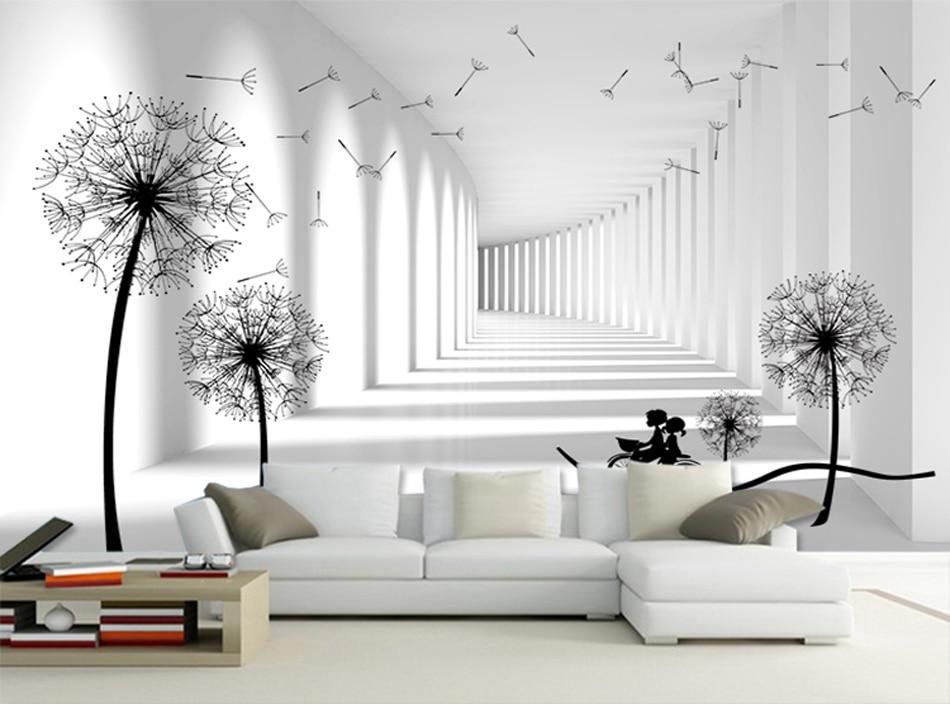 Grey White Brick Lover Riding Dandelion Floral Glitter Wallpaper Walls for 3d livingroom Vintage Papel De - Sterretjes Behang