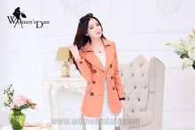 WomensDate 2016 Hot Sale Fashion Autumn Women Pink Slim Short Trench Coat Long-sleeved Double-breasted Women's Trench Coat