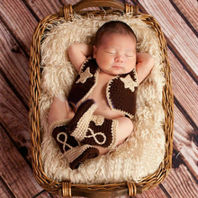 Baby Boys Crochet Photo Prop Cowboy Cowgirl Set Knitted Boots Vest Outfit